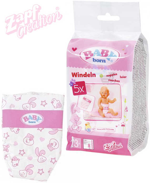 ZAPF BABY BORN Plenky pro panenku miminko set 5ks