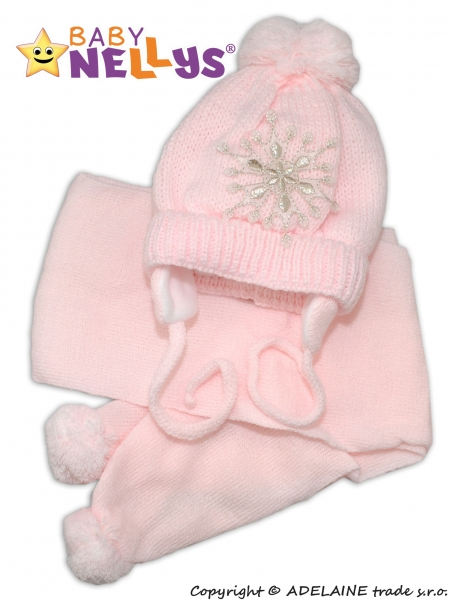 Zimní čepička s šálou - Sněhová vločka v růžové - 0/6 měsíců
