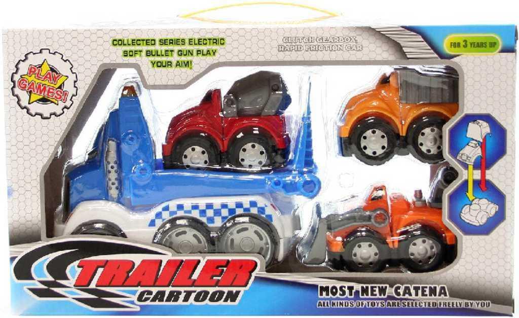 Kamion rozebírací set tahač + 3 autíčka pracovní k sestavení plast v krabici
