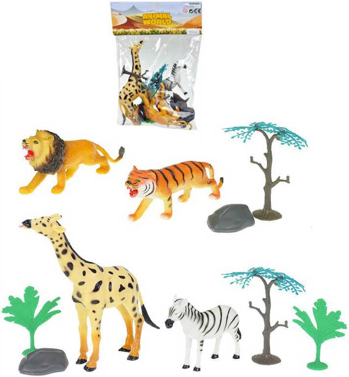 Zvířátka safari 10-16cm set 4ks s doplňky v sáčku plast