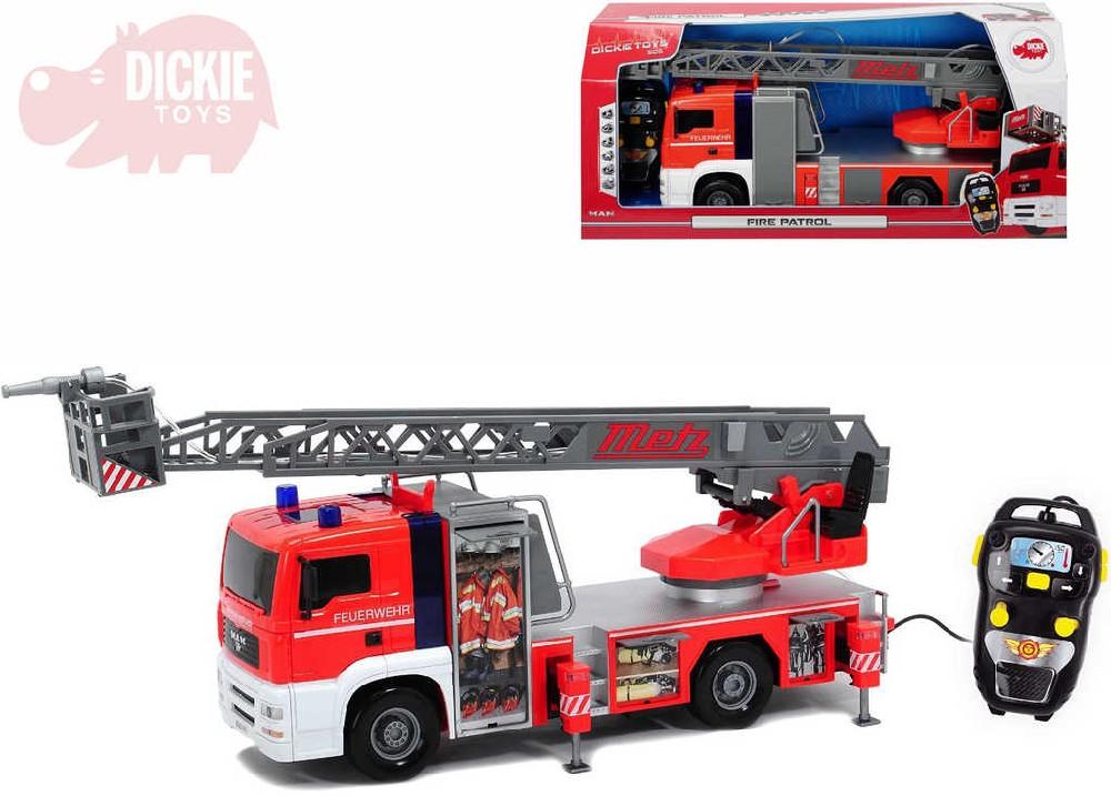 DICKIE Auto funkční hasiči 50cm ovládání na kabel na baterie stříká vodu