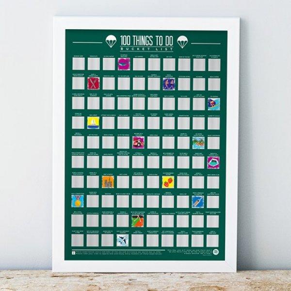Stírací plakát 100 věcí co v životě stihnout - Bucket list