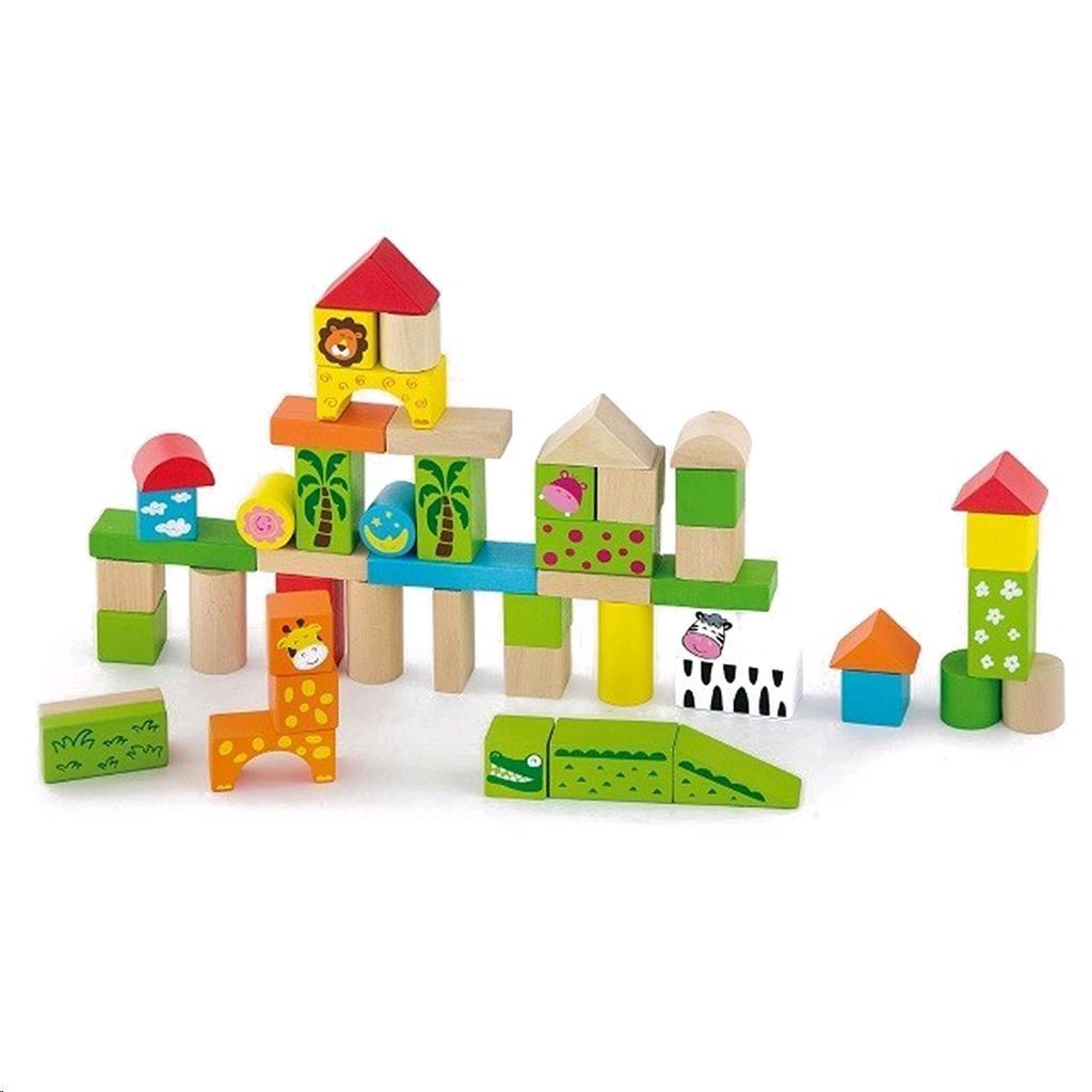 Dřevěné kostky pro děti Viga ZOO 50 dílů - multicolor