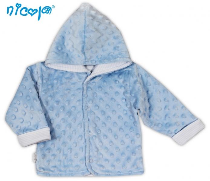 Kabátek/bundička NICOL VESELÝ SLONÍK v modré - MINKY - 62 (2-3m)
