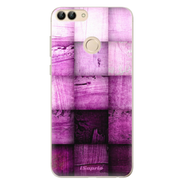 Odolné silikonové pouzdro iSaprio - Purple Squares - Huawei P Smart