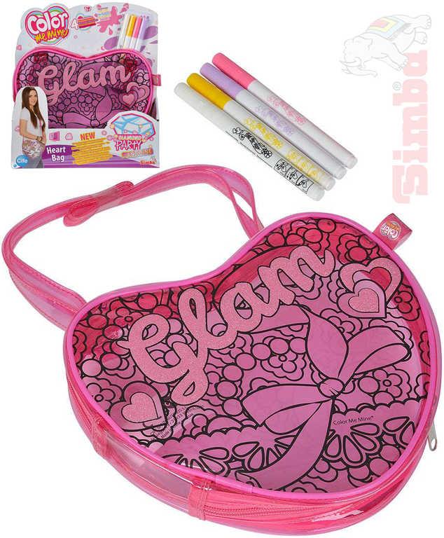 SIMBA Kabelka srdce vybarvovací Color Me Mine kreativní set se 4 fixami
