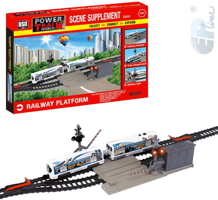 EP Line PTW Železniční přejezd set s dráhou a 2 vagonky doplněk k vláčkodráze