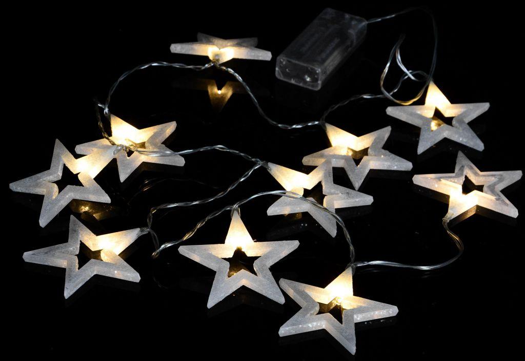 Vánoční dekorativní osvětlení - třpytivé hvězdy - 10 LED teple bílé