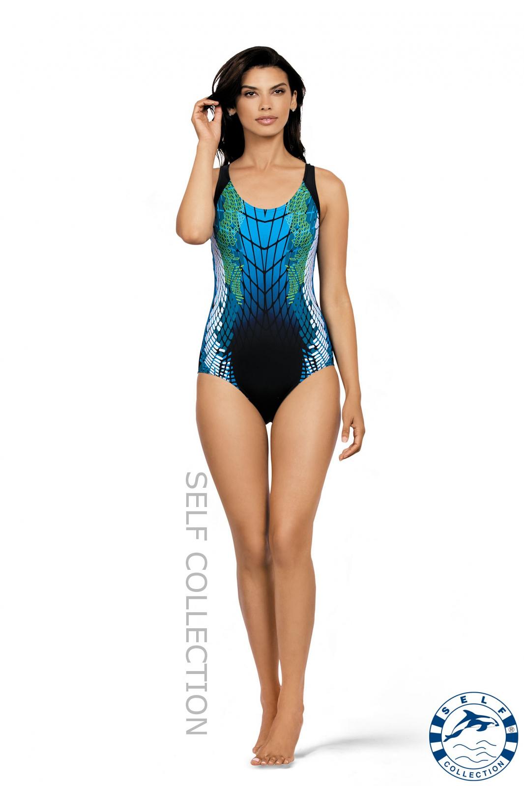 Dámské plavky Self S 35 C - Černá-modrá/S-36