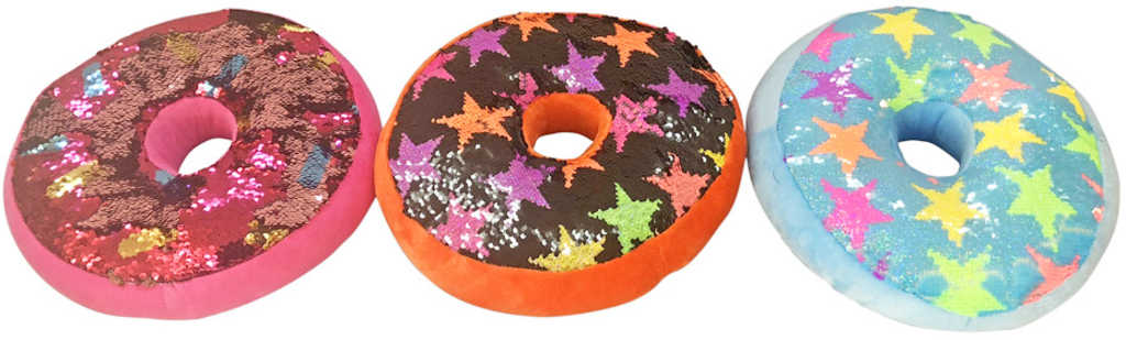 PLYŠ Polštářek flitrový donut různé druhy *PLYŠOVÉ HRAČKY*