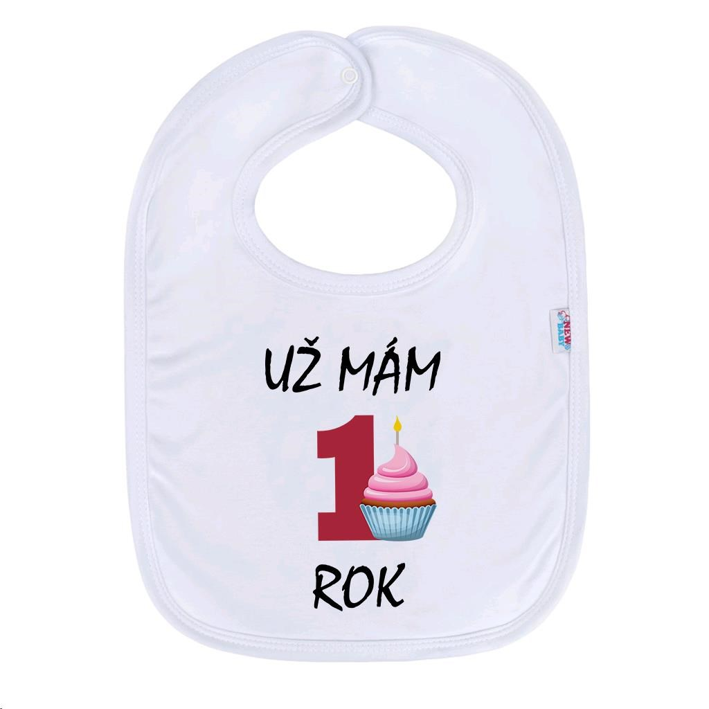 Kojenecký bavlněný bryndák New Baby Už mám 1 rok růžová - bílá