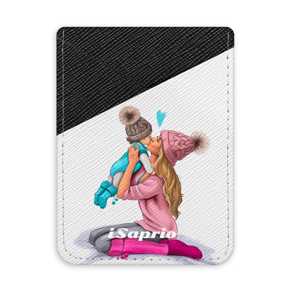 Pouzdro na kreditní karty iSaprio - Kissing Mom - Blond and Boy - tmavá nalepovací kapsa