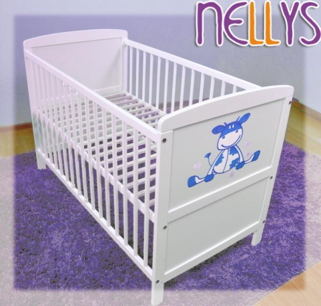 Dřevěná postýlka Nellys bílá - kravička modrá, 120x60 - 120x60