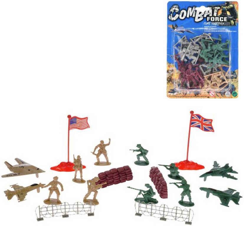 Vojáci figurka akční plastová se zbraní 4 armády / s letadly a doplňky - 2 druhy