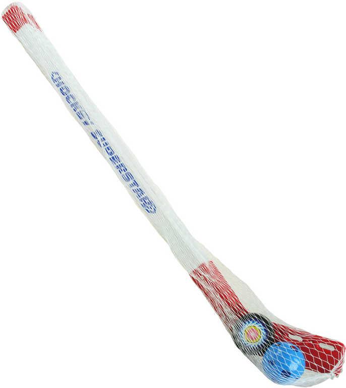 Set 2 plastové hokejky 75cm s míčkem a pukem florbalky v síťce