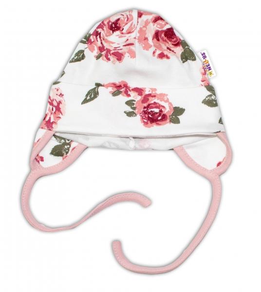Baby Nellys Bavlněná čepička s oušky na zavazování - Růže
