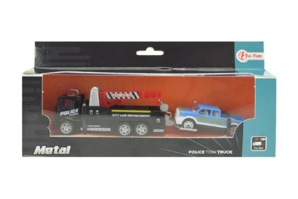 Auto odtahovka s jeřábem 2ks kov 18cm na zpětné natažení v krabičce 24x11x5cm