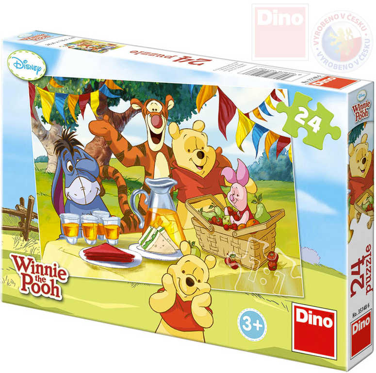 DINO Puzzle 24 dílků Medvídek Pú na hostině 26x18cm skládačka v krabici