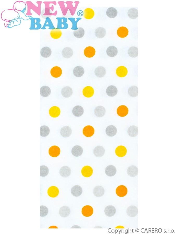 Flanelová plena s potiskem New Baby - s barevnými puntíky - bílá
