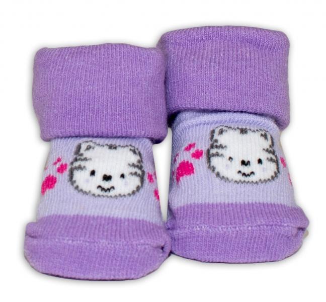 Kojenecké ponožky, 0 - 6 měsíců, Bobo Baby - Kočička, fialová - 0/6 měsíců