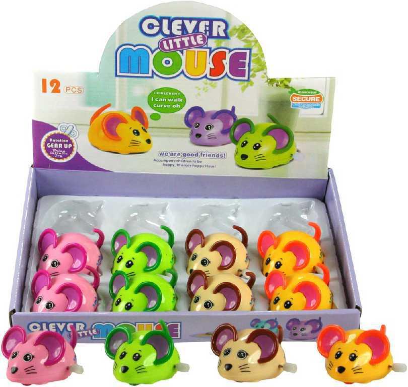 Myška natahovací na klíček plastová na kolečkách vrtí ocáskem 4 barvy