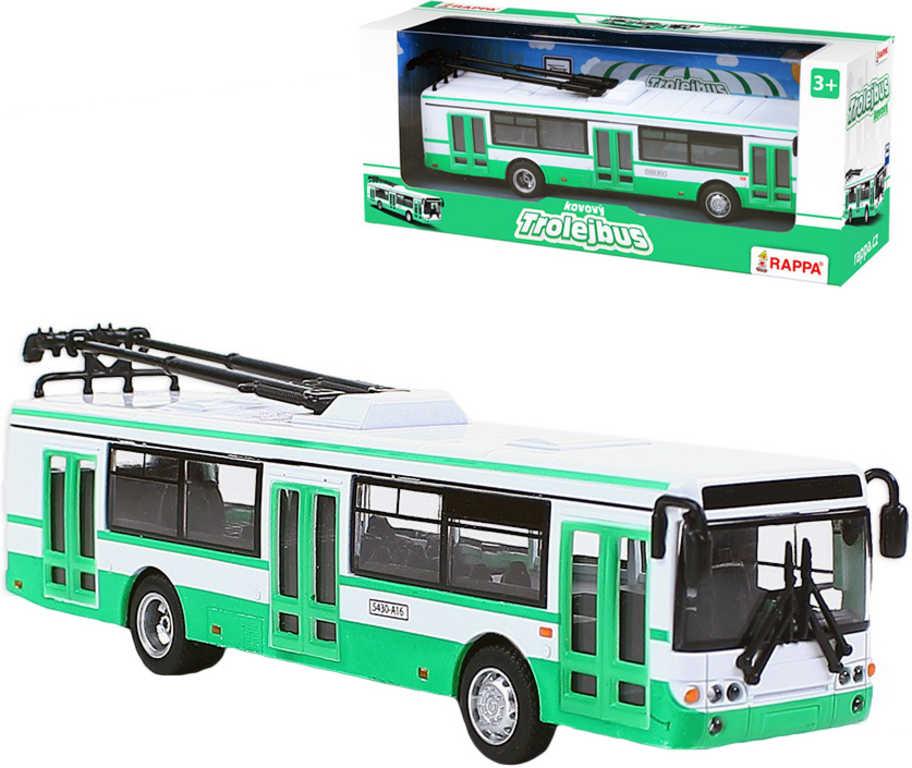 Trolejbus kovový bílo-zelený 16cm zpětný nátah v CZ krabičce
