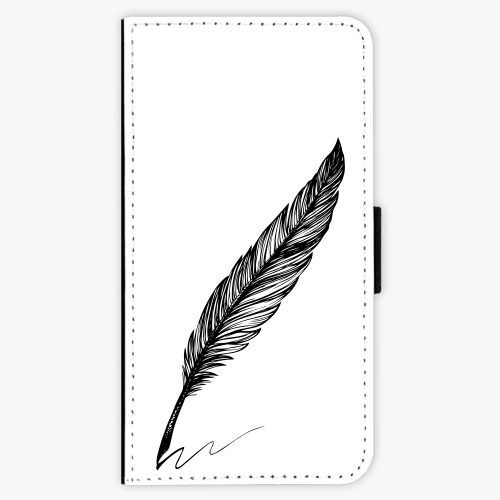 Flipové pouzdro iSaprio - Writing By Feather - black - Samsung Galaxy J7 2017