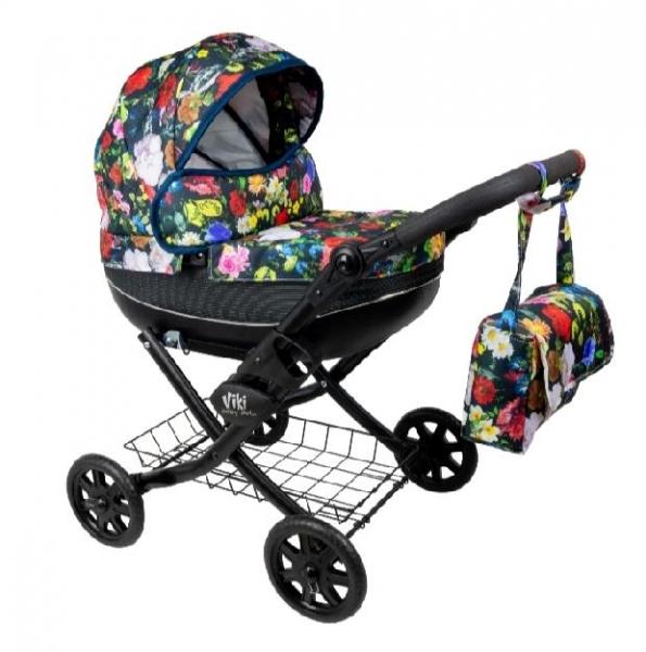 NESTOR Dětský kočárek pro panenky Viki Rose, černá konstrukce - barevné květy