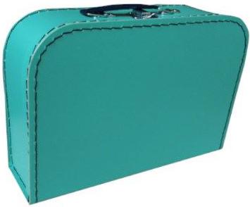 KAZETO Kufr dětský modrozelený 30x21x10cm šitý lepenkový