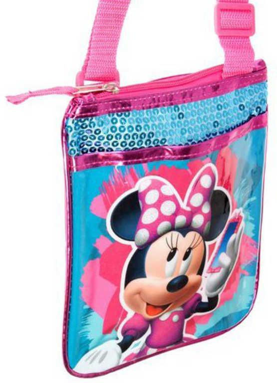 ET Taška dívčí přes rameno Disney Minnie Mouse s flitry na zip