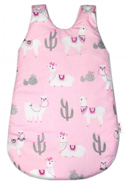 Bavlněný spací vak Lama - růžový