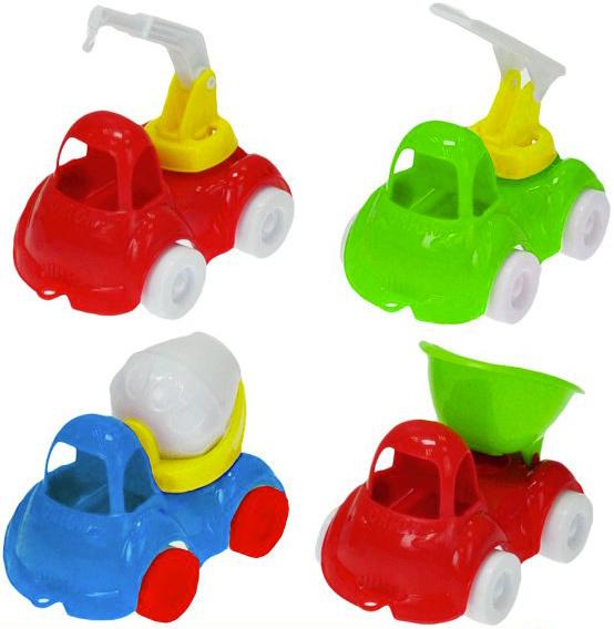 Baby autíčko barevné stavební 10 cm volný chod - 4 druhy