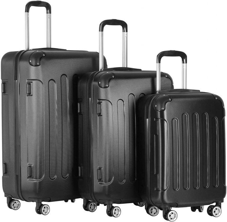Sada cestovních kufrů 3-dílná, tvrdý plast, černá