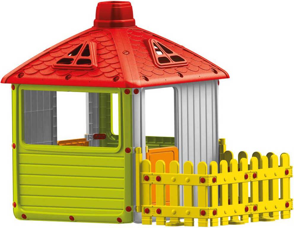 Domeček dětský plastový zahradní hrací 158x132x107cm s plotem