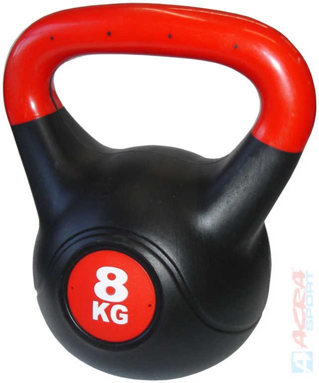 ACRA Činka kettlebell s cementovou náplní 8 kg černo-červená