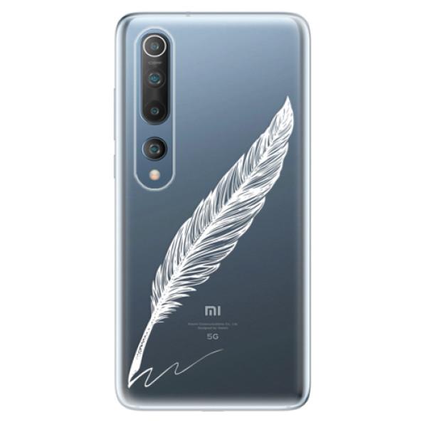 Odolné silikonové pouzdro iSaprio - Writing By Feather - white - Xiaomi Mi 10 / Mi 10 Pro