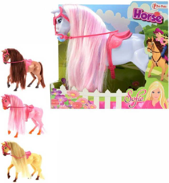 Kůň plastový Sofie s dlouhou hřívou česací - 4 barvy
