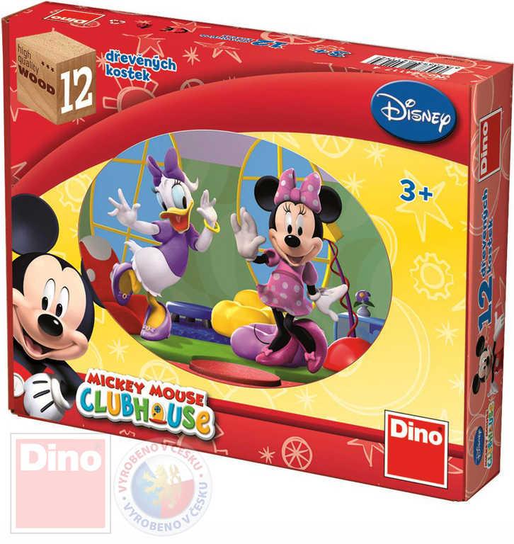 DINO DŘEVO Kostky obrázkové Mickey Mouse set 12 ks