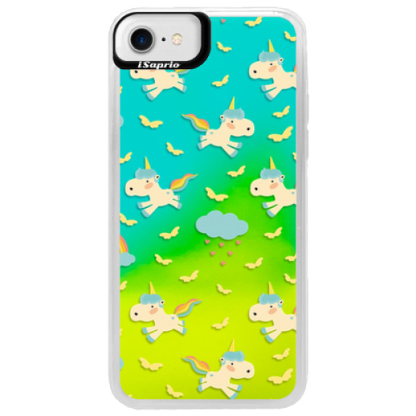 Neonové pouzdro Blue iSaprio - Unicorn pattern 01 - iPhone 7