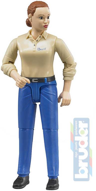 BRUDER 60408 Figurka kloubová žena 11cm modré kalhoty 1:16 plast