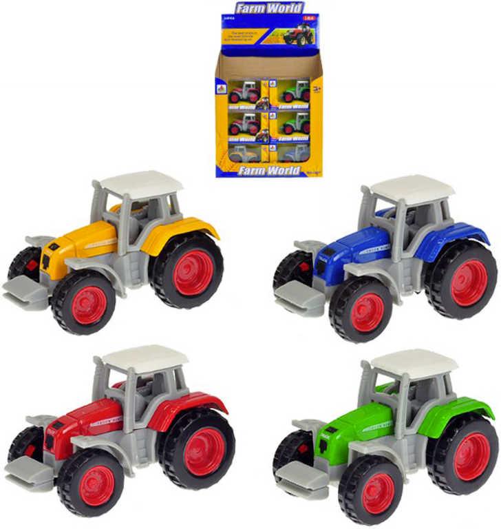 Traktor kovový 7 cm volný chod 1:64 v krabičce - 4 barvyý ch