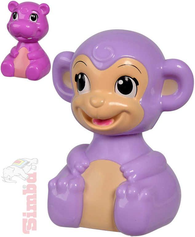 SIMBA Baby veselé zvířátko opička/hrošík zmáčkni a jeď - 2 druhy