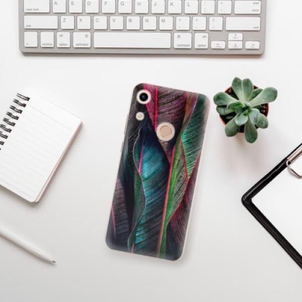 Odolné silikonové pouzdro iSaprio - Black Leaves - Huawei Honor 8A