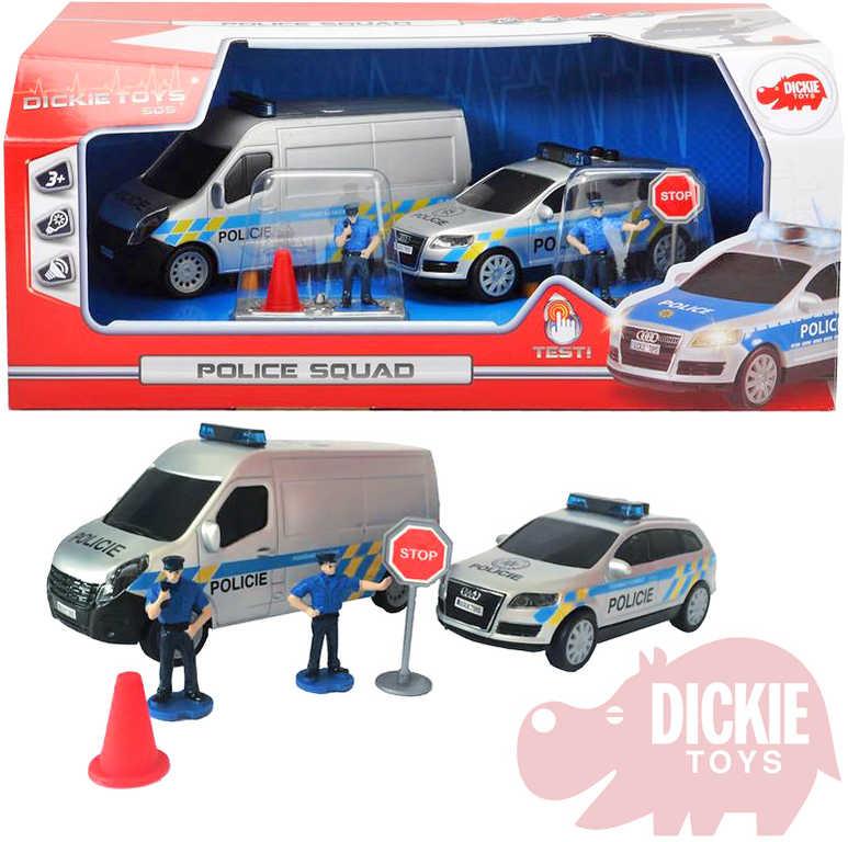 DICKIE Set 2 policejní auta + 2 figurky s dopravním značením Světlo Zvuk