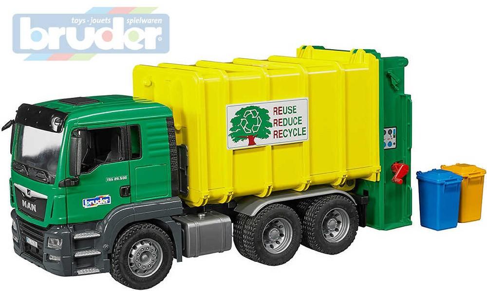 BRUDER 03764 (3764) Set auto nákladní žlutozelené MAN TGS popeláři + 2 popelnice