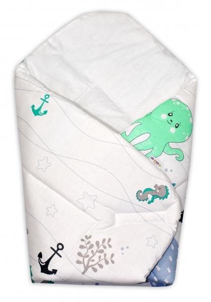 Novorozenecká zavinovačka Oceán, 75x75 cm - zelený - Klasické