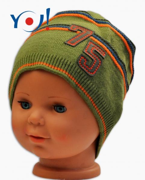 Podzimní čepička YO ! č. 75 - khaki - 52 čepičky obvod/54 čepičky obvod