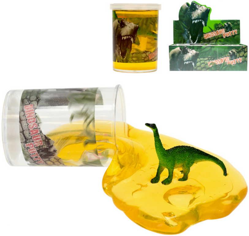 Zábavný sliz set s dinosaurem 8cm v kelímku různé druhy