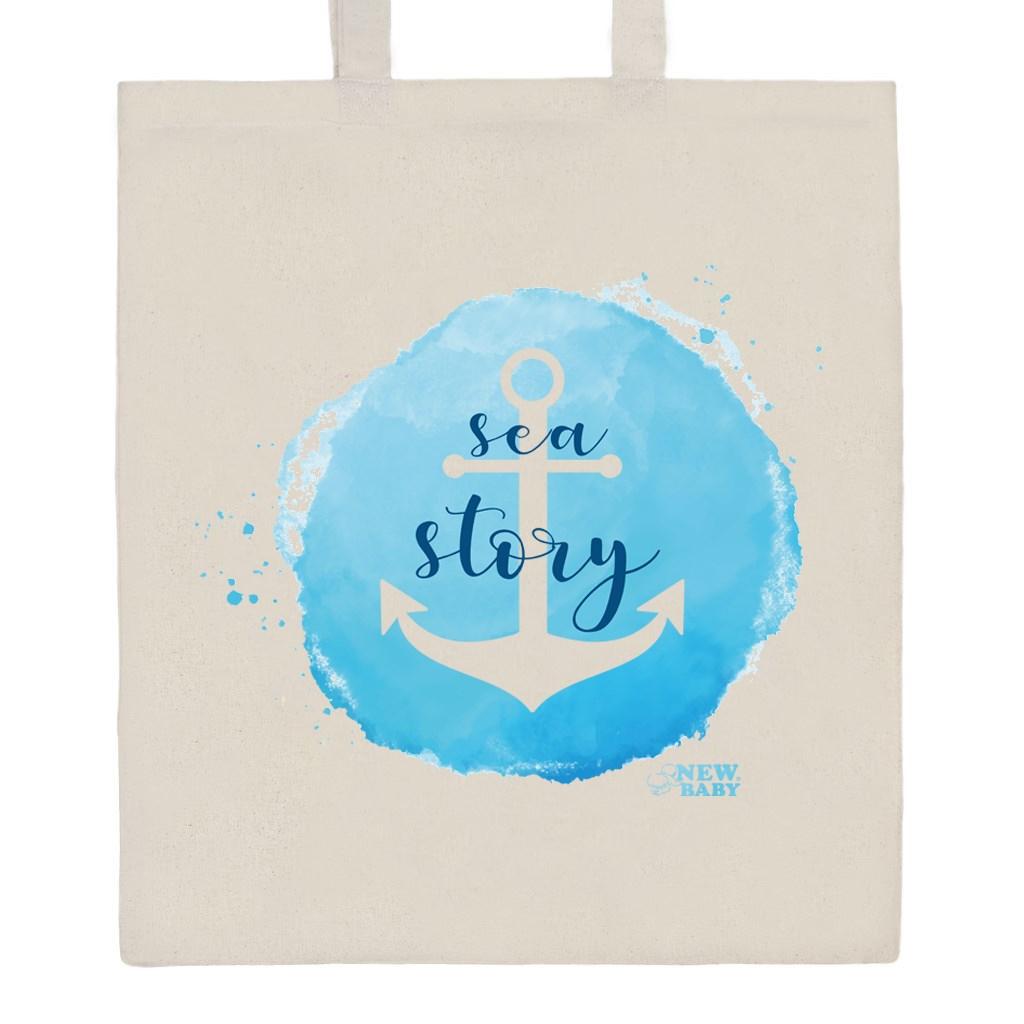 Bavlněná nákupní taška s potiskem New Baby Sea story - přírodní