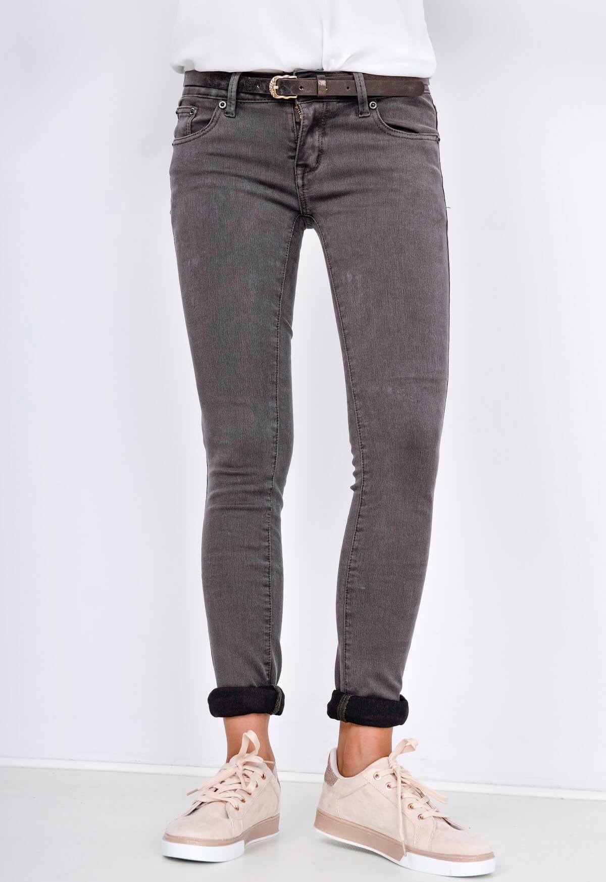 Dámské bokové cigaretové kalhoty v grafitové barvě s opaskem - Tmavě šedá/XXS/XS
